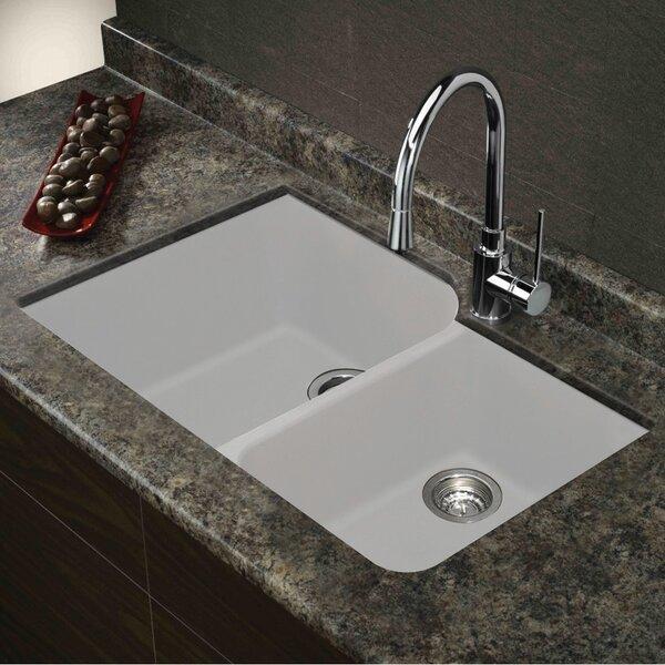 Radius 31 L x 20 W Granite Double Offset Undermount Kitchen Sink