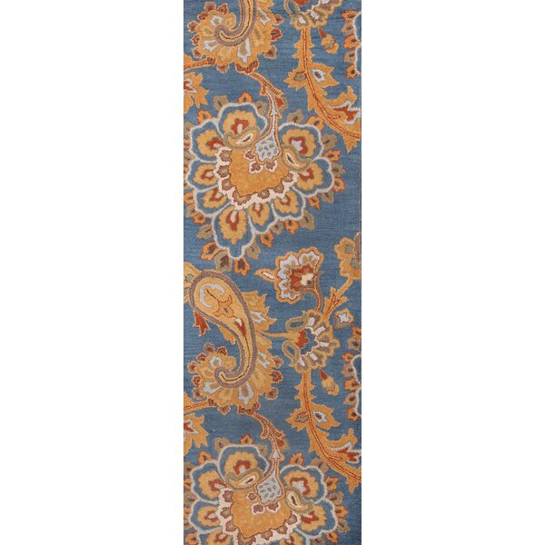 Simone Traditional Agra Classical Oriental Hand-Tufted Wool Blue/Orange Area Rug by Darby Home Co