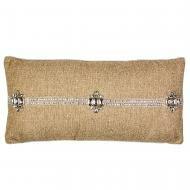 Jute with Diamond Necklace Lumbar Pillow by Sivaana