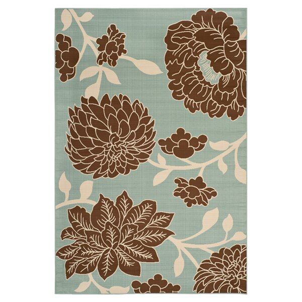 Hampton Light Grey Floral Outdoor Area Rug by Safavieh