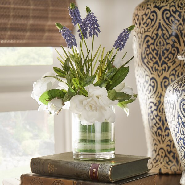 Faux Cape Jasmine Gardenia and Grape Hyacinth by Three Posts