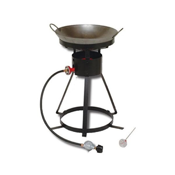 Bolt Together Outdoor Cooker with Steel Wok and 2 Wooden Utensils by King Kooker