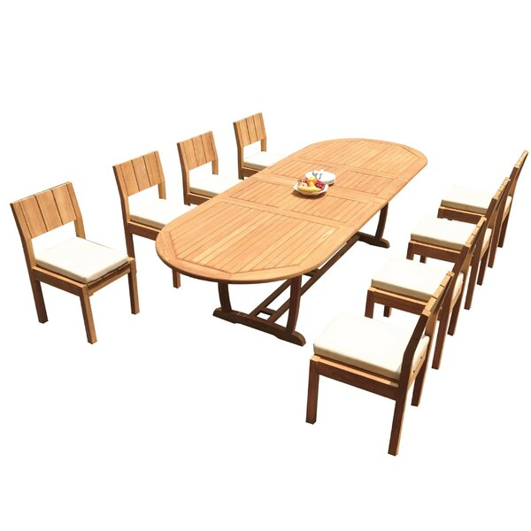 Faxon 9 Piece Teak Dining Set by Rosecliff Heights
