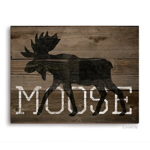 'Moose Silhouette' Graphic Art Plaque by Union Rustic