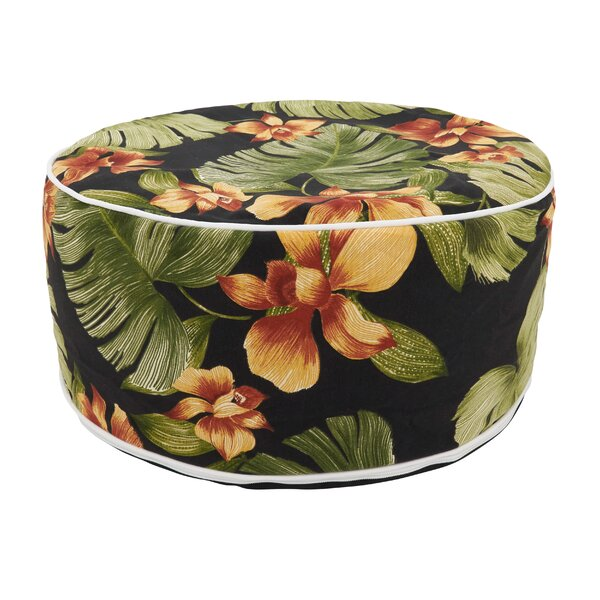 Eugene Tropical Leaf Print Outdoor Ottoman by Bayou Breeze