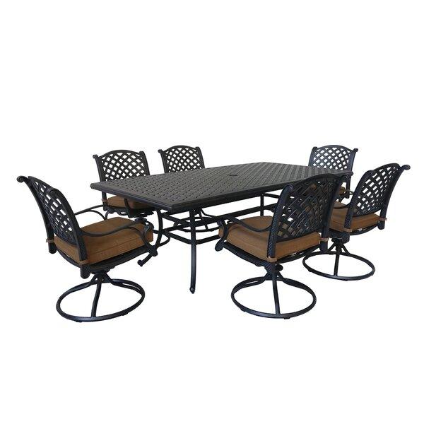 Waddington 7 Piece Dining Set with Sunbrella Cushions by Fleur De Lis Living