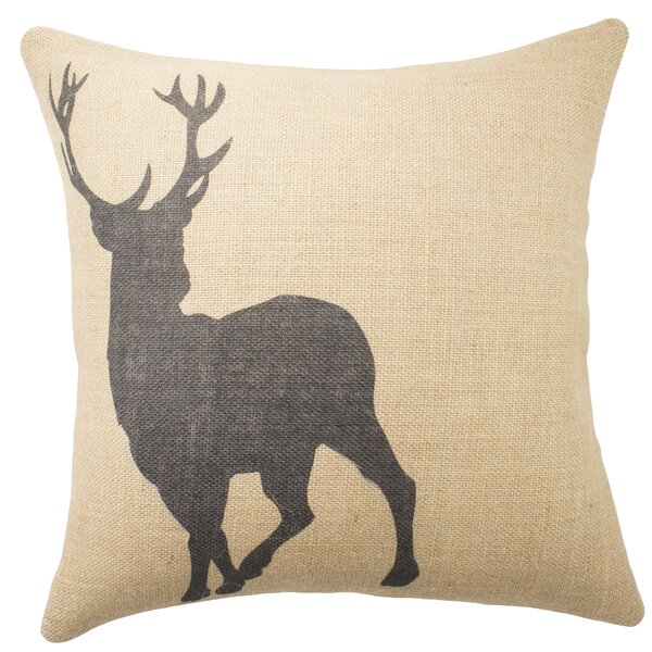 Deer Burlap Throw Pillow by TheWatsonShop
