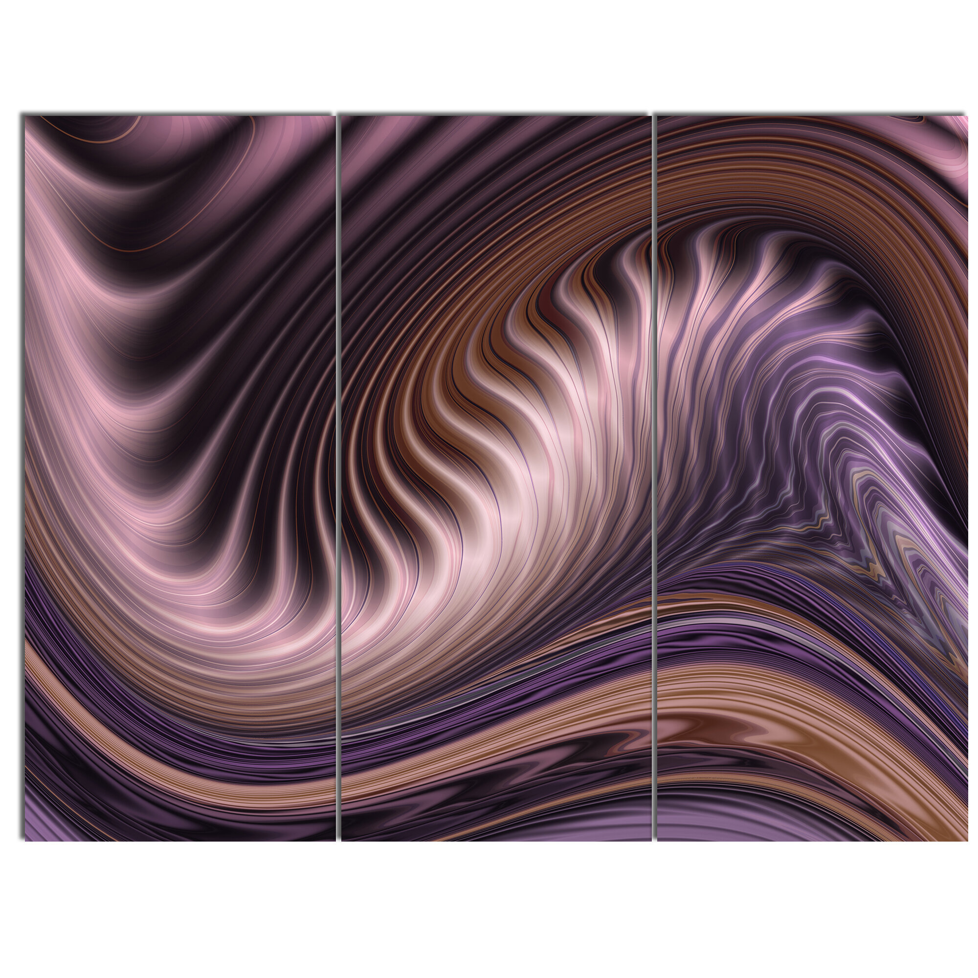 5da5a2da623 DesignArt  Purple Waves Fractal Wall Art  3 Piece Graphic Art on Wrapped  Canvas Set