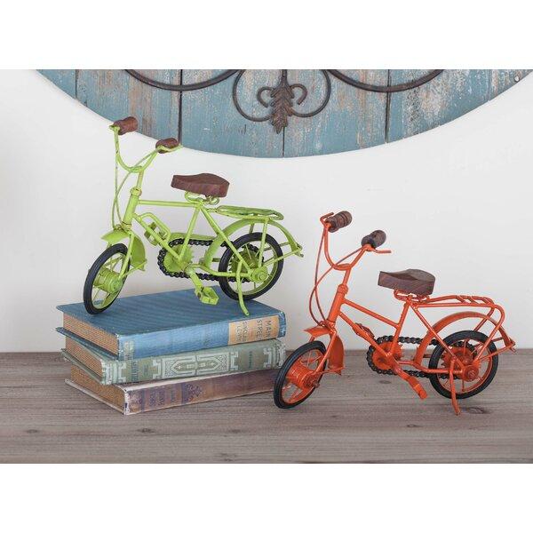 Metal/Wood 2 Piece Bicycle Sculpture Set by Cole & Grey