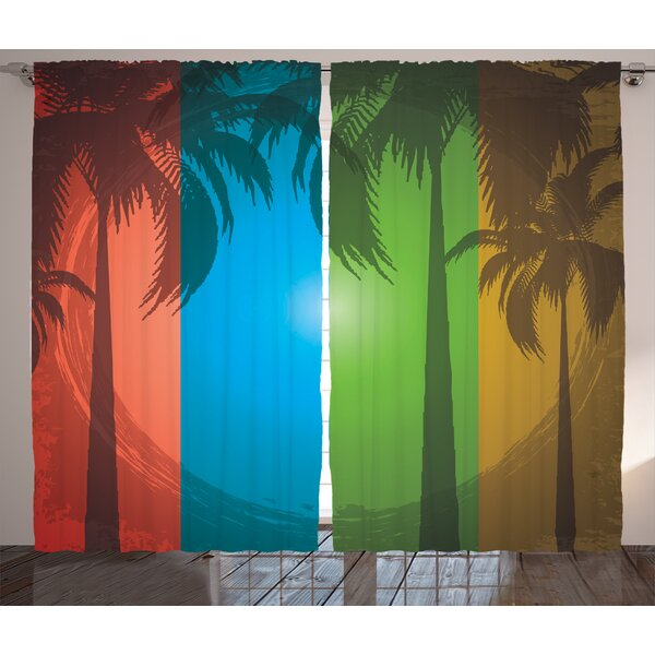 Arlie Palm Tree Graphic Print & Text Semi-Sheer Rod Pocket Curtain Panels (Set of 2) by Latitude Run