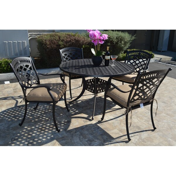 Wildermuth 5 Piece Dining Set with Cushions by Fleur De Lis Living