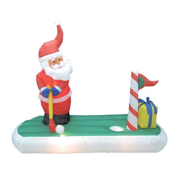 Christmas Inflatable Santa Claus Play Golf Decoration by The Holiday Aisle