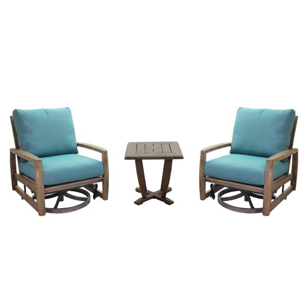 Avalon Courtyard Casual Motion Balcony Teak Sunbrella Seating Group with Cushions