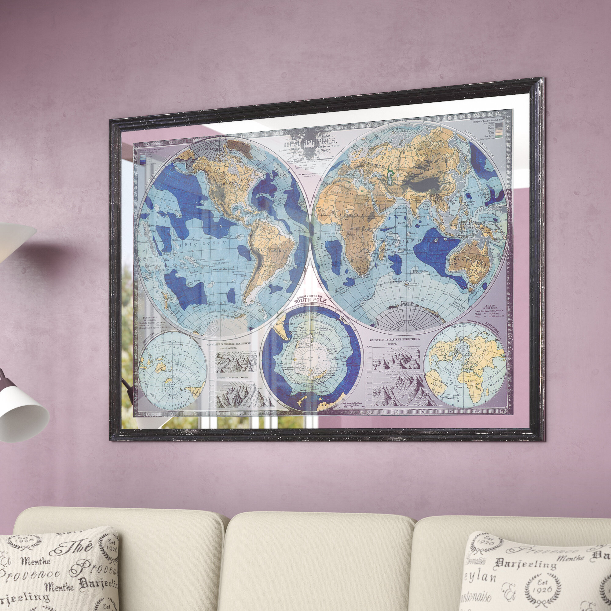 Darby Home Co Mirrored World Map Framed Graphic Art & Reviews | Wayfair