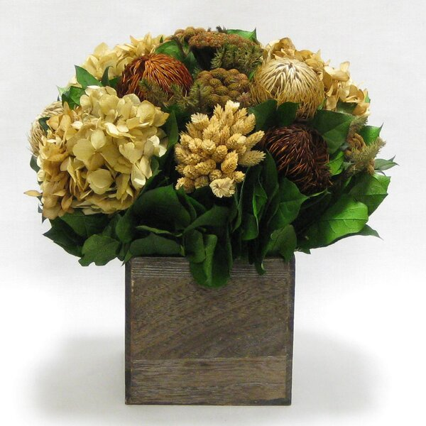 Mixed Floral Centerpiece in Wooden Cube Container by Loon Peak