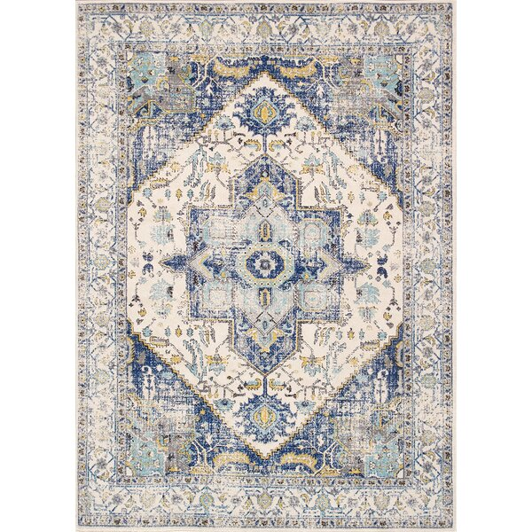 Chelsea Ivory/Blue Area Rug by Pasargad
