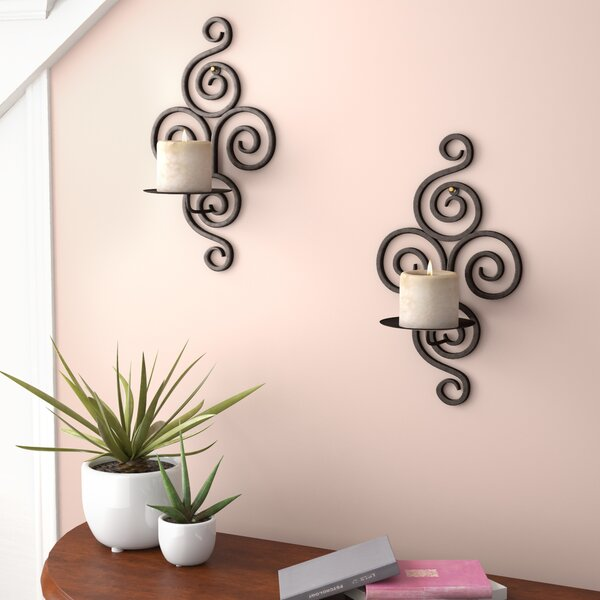 Wrought Iron Sconce (Set of 2) by Fleur De Lis Living