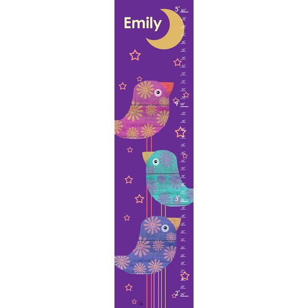 Birds and Moon Personalized Growth Chart by Green Leaf Art
