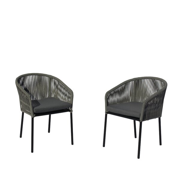 August Euart Patio Dining Chair with Cushion (Set of 2) by Modern Rustic Interiors