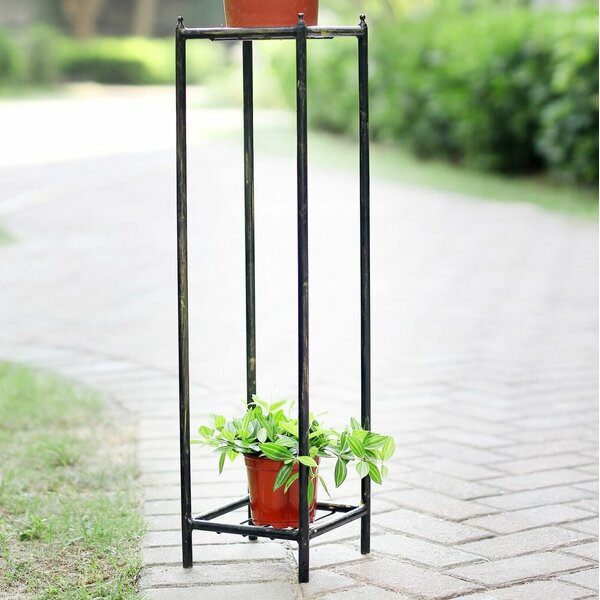 Stone Slab 2 Tier Medium Square Cast-Iron Plant Stand by ORE Furniture