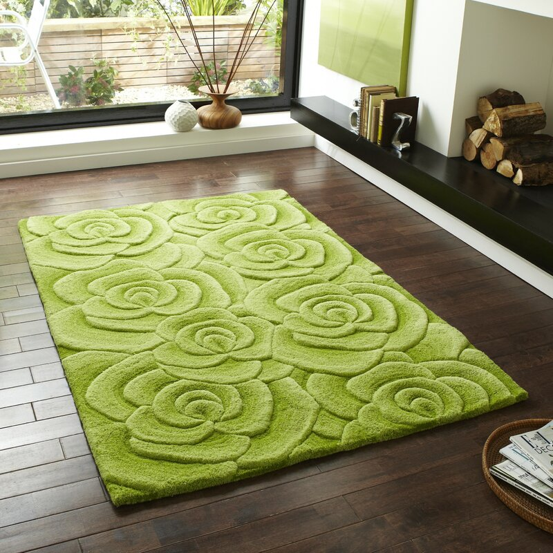 Charlton Home Travis Hand-Tufted Green Area Rug & Reviews