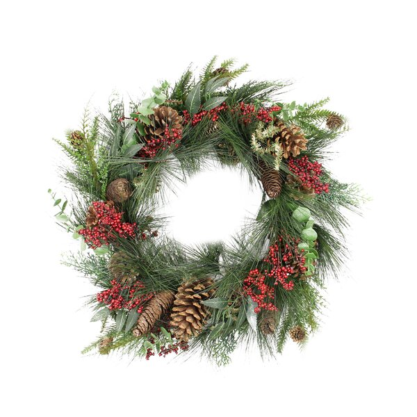 24 Artificial Berry Pine Cone and Eucalyptus Leaf Long Needle Pine Christmas Wreath by Tori Home