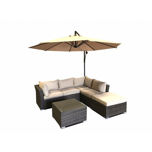 5 Piece Rattan Sectional Seating Group with Cushions by JB Patio