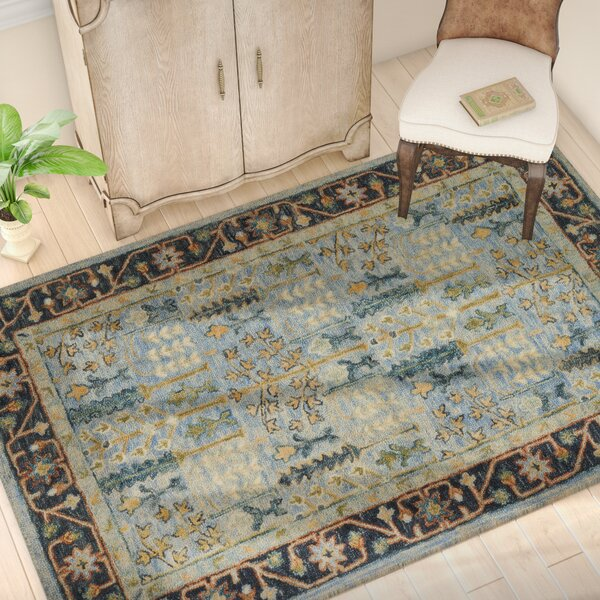 Watertown Hand-Hooked Wool Light Blue/Dark Blue Area Rug  by Astoria Grand