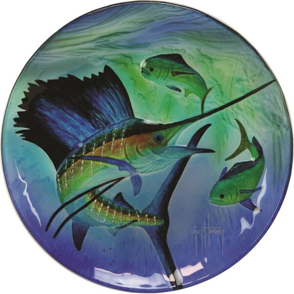 Guy Harvey Sailfish Glass Platter by River's Edge Products