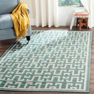 Dhurries Wool Seafoam/Ivory Outdoor Area Rug