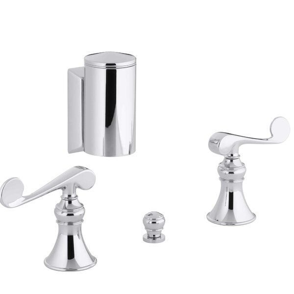 Revival Below-The-Rim Horizontal Swivel Spray Bidet Faucet with Scroll Lever Handles by Kohler