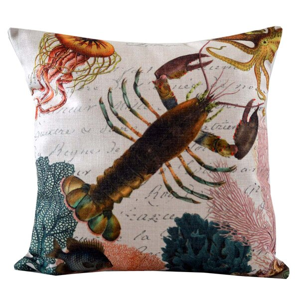 Lobster and Coral Insert Throw Pillow by Golden Hill Studio