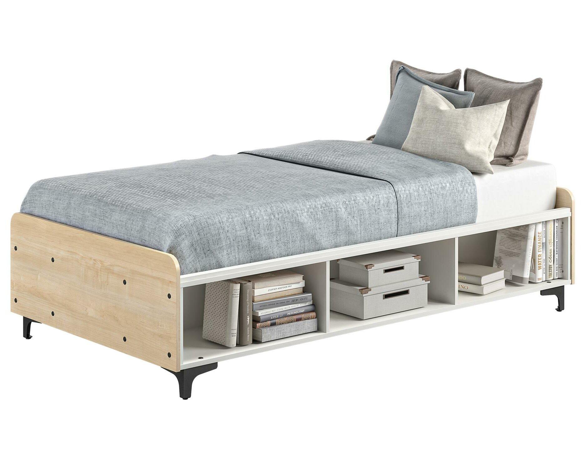 Karan Twin Platform Bed With Shelves Reviews Allmodern