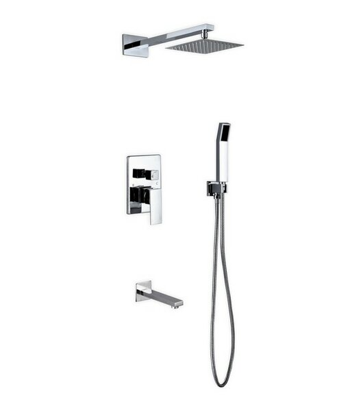 Cahoon Diverter Complete Shower System with Square Rain Shower, Tub Filler and Handheld Shower - Includes Rough-In Valve by Rebrilliant