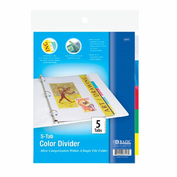 3-Ring Binder Divider with 5-Insertable Color Tabs by Bazic