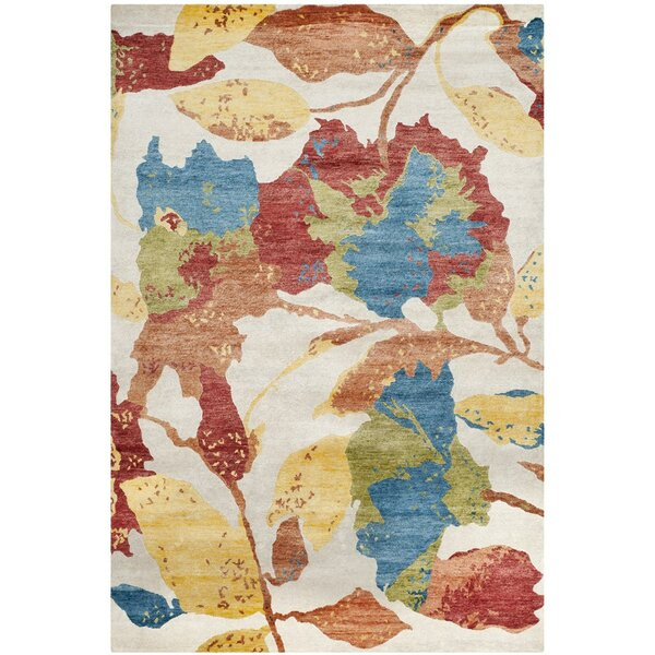 Lanclos Floral Hand-Knotted White/Red Area Rug