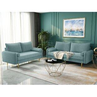 Cottondale 2 Piece Velvet Living Room Set by Mercer41