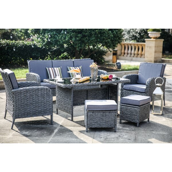 Nazzaro 6 Piece Dining Set with Cushions by One Allium Way