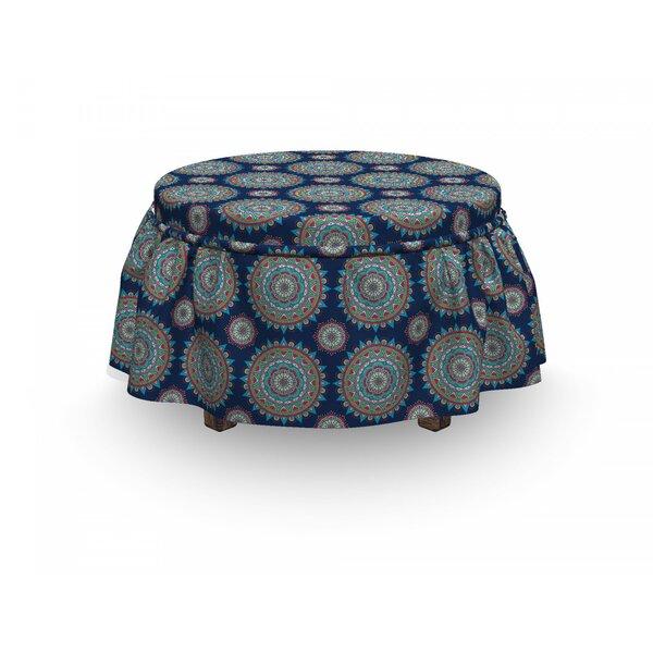 Mandala Chinese Flora Flowers 2 Piece Box Cushion Ottoman Slipcover Set By East Urban Home
