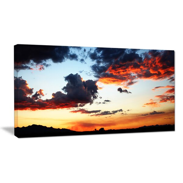 Blazing Sky with Clouds Panorama Photographic Print on Wrapped Canvas by Design Art
