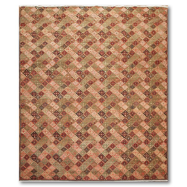 One-of-a-Kind Montanari Hand-Knotted Wool Brown/Green Area Rug by Latitude Run