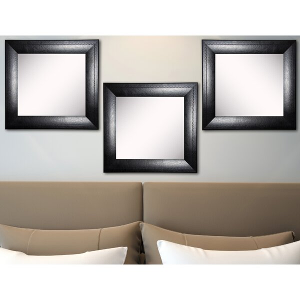 Hille Stitched Black Leather Wall Mirror (Set of 3) by Winston Porter