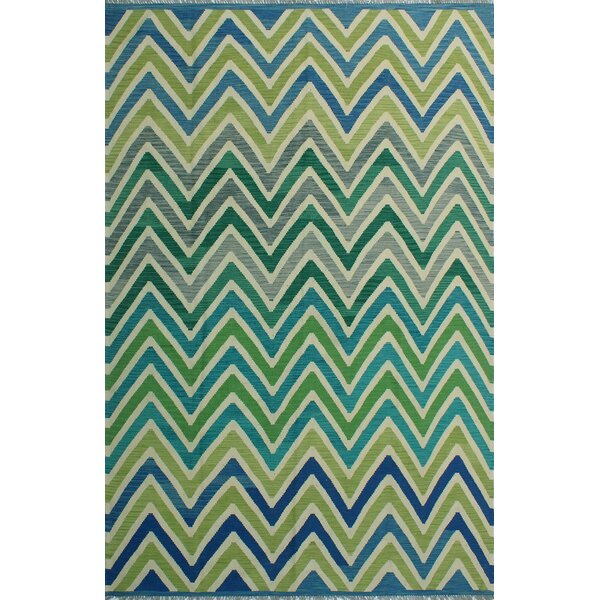 Dickie Hand-Knotted Wool Green/Blue Area Rug by Bloomsbury Market