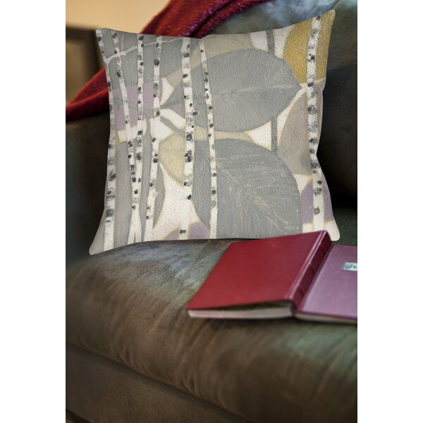 Birch Leaf 2 Printed Throw Pillow by Manual Woodworkers & Weavers