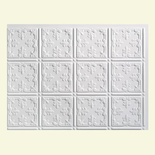Traditional 10 1.5 ft. x 2 ft. PVC Backsplash Panel in Gloss White by Fasade
