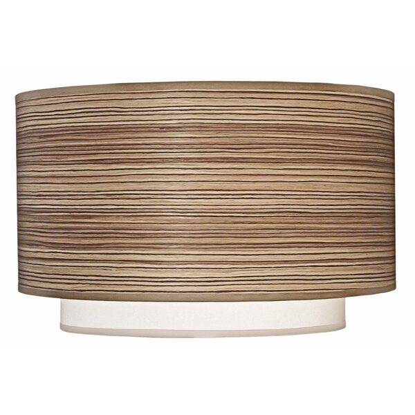 9 H Linen Drum Lamp Shade ( Spider ) in Zebrawood/Off White Camelot