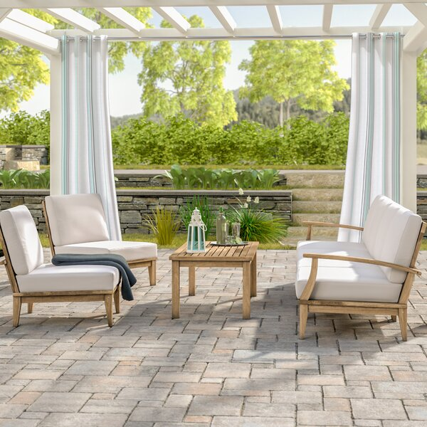 Elaina 7 Piece Teak Sectional Seating Group with Cushions by Beachcrest Home