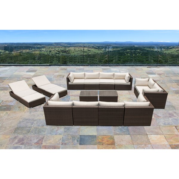 Ton 14 Piece Rattan Sectional Seating Group with Cushions by Latitude Run