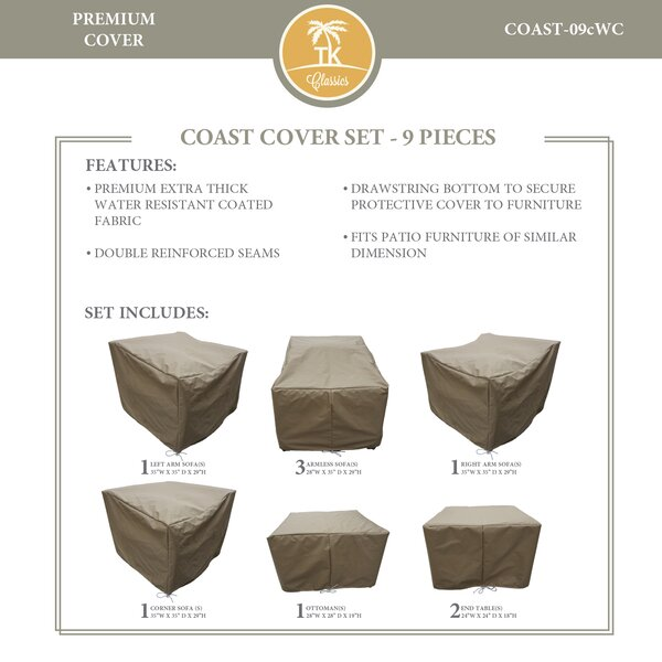 Coast Protective 9 Piece Water Resistant Patio Furniture Cover Set by TK Classics
