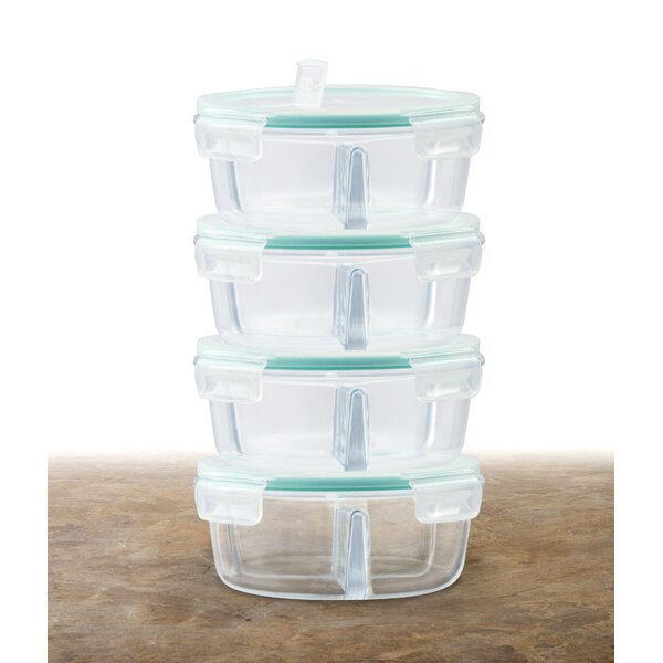 Round Glass Meal Prep 32 Oz. Food Storage Container (Set of 4) by Rebrilliant